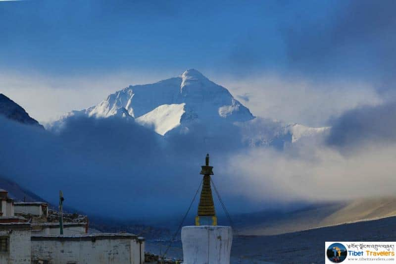 View of Mount Everest from Rongbuk monastery